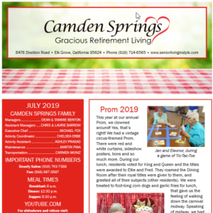 July Camden Springs Gracious Retirement Living Newsletter