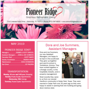 May Pioneer Ridge Gracious Retirement Living newsletter