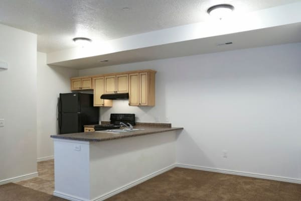 Spacious living area at Ridgeview Apartments