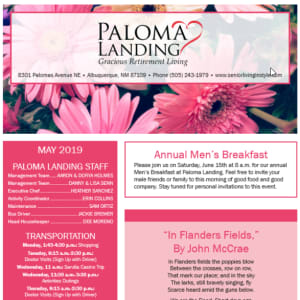 May Paloma Landing Retirement Community newsletter