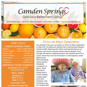 June Camden Springs Gracious Retirement Living Newsletter