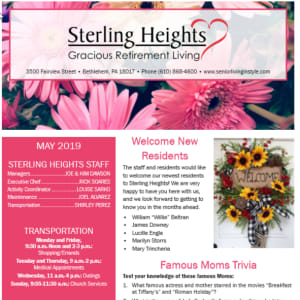 May Sterling Heights Gracious Retirement Living newsletter