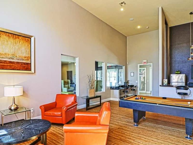 Social area with pool table at Monterra Apartment Homes