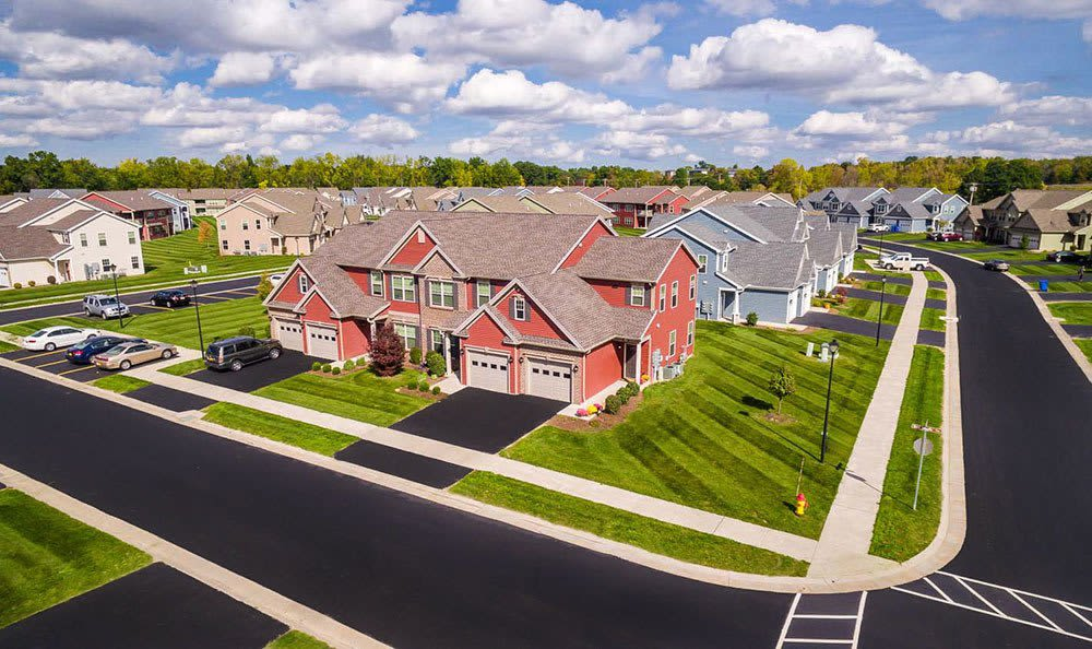 Aerial view of our apartments in Farmington, NY