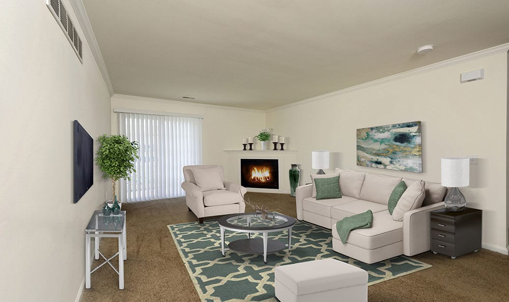 Gorgeous living room at Cannon Mills in Dover, DE