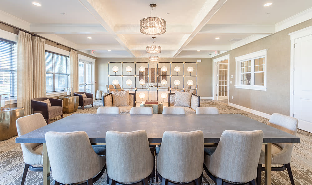 Modern dining room at apartments in Rochester, New York