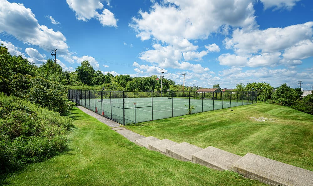 Tennis court at apartments in Pittsburgh, Pennsylvania