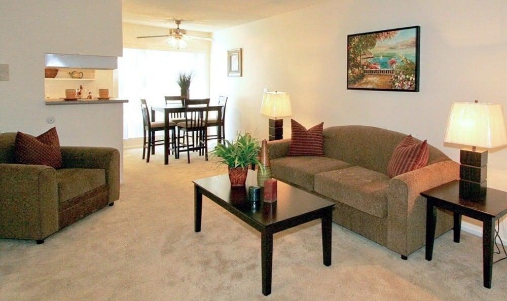 Open Living room in Sherman Oaks, California at The Windsor