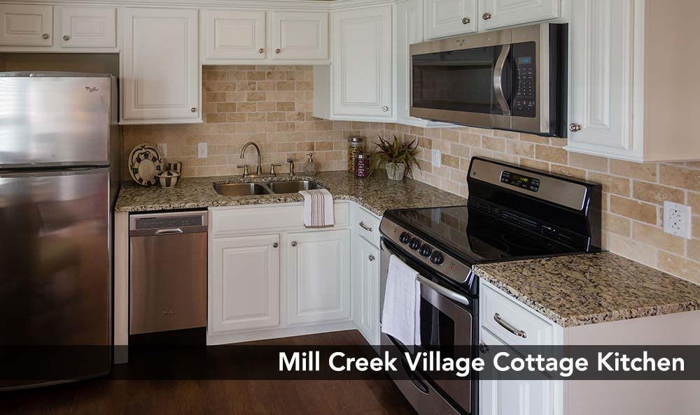 Modern kitchen at Mill Creek Village Senior Living in Columbia, Missouri