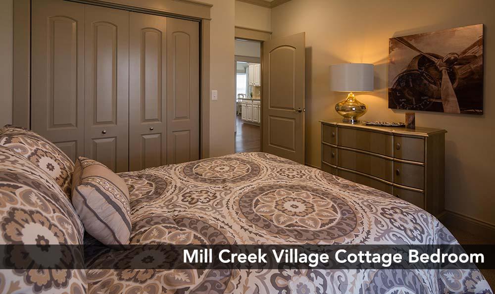 Beautiful bedroom at Mill Creek Village Senior Living in Columbia, Missouri