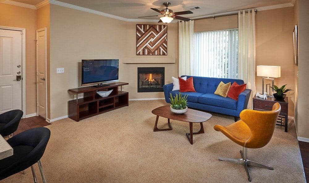 Living room at Legend Oaks Apartments