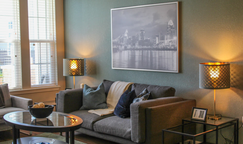 Spacious and well decorated living room at Springs at West Chester Apartments in West Chester, OH