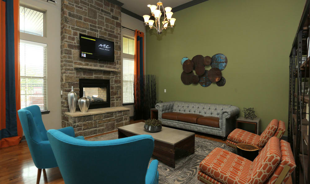 Clubhouse Interior Seating Area At Springs at Woodlands South Apartments In Tulsa