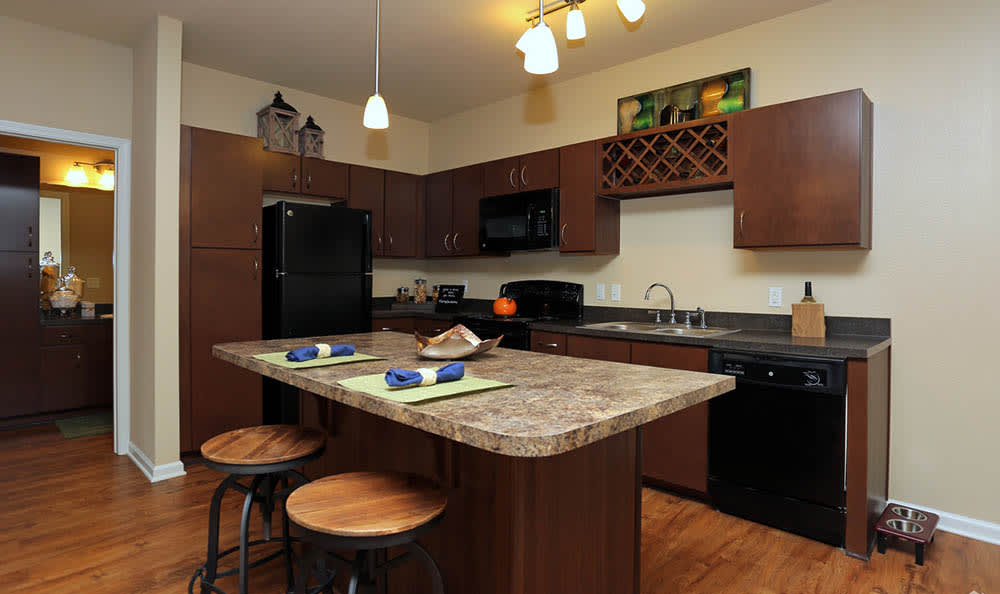 Upgraded Kitchen At Springs at Woodlands South Apartments In Tulsa