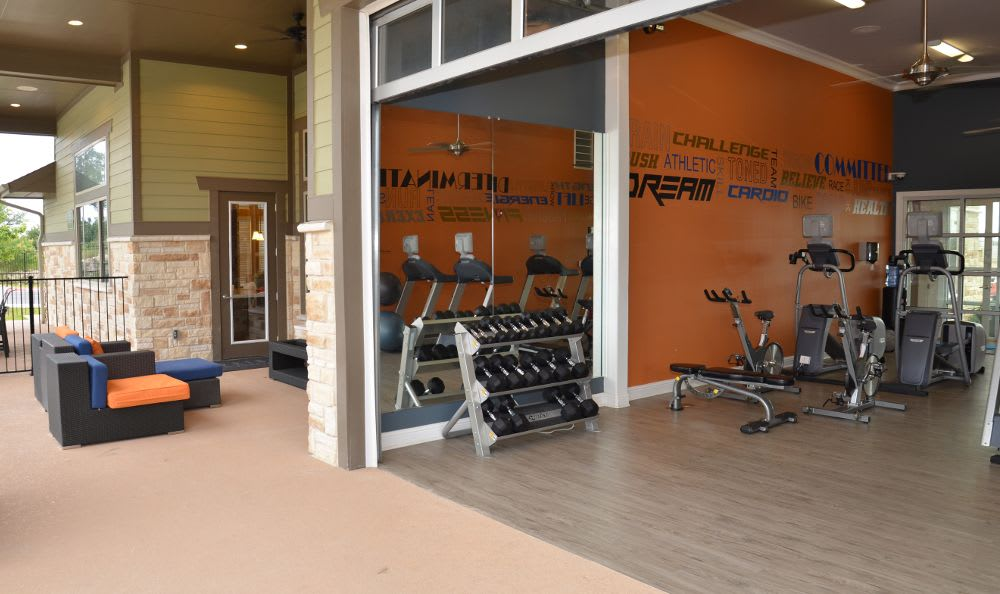 Fitness center at Springs at Memorial in Oklahoma City
