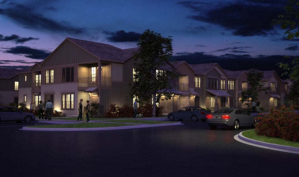 Night view of Springs at Cottonwood Creek Apartments