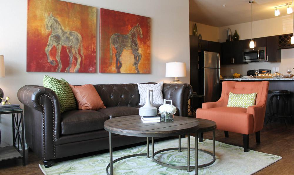 spacious living room at Springs at Hurstbourne in Louisville, KY