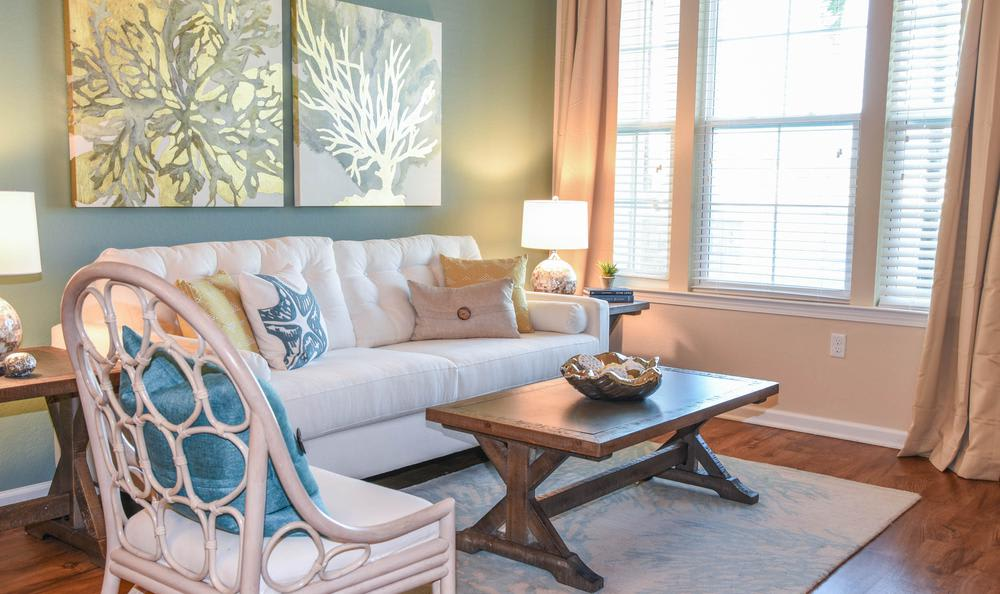well decorated living room at Springs at McDonough in McDonough, GA