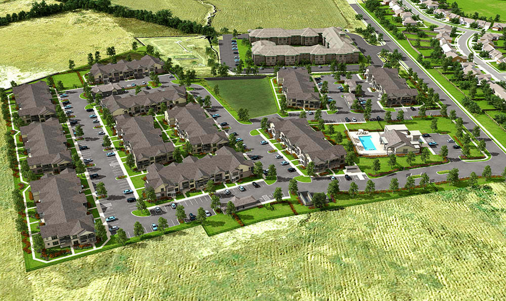 Aerial Rendering Of Springs at Sunfield In Buda