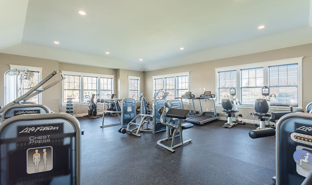 Renovated gym at Orchard View Senior Apartments in Rochester
