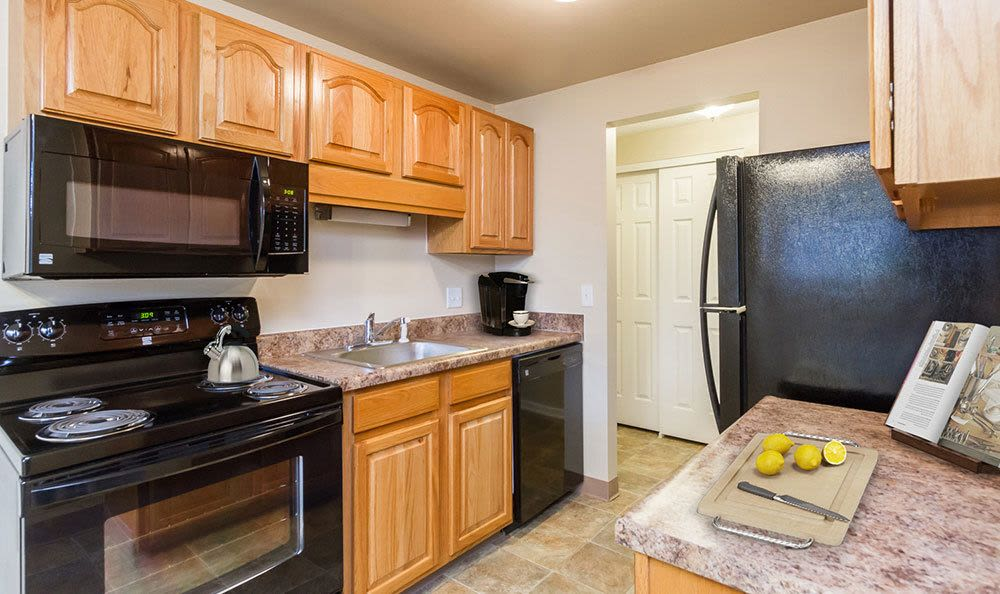 Upgraded kitchen at Newcastle Apartments home in Rochester, NY