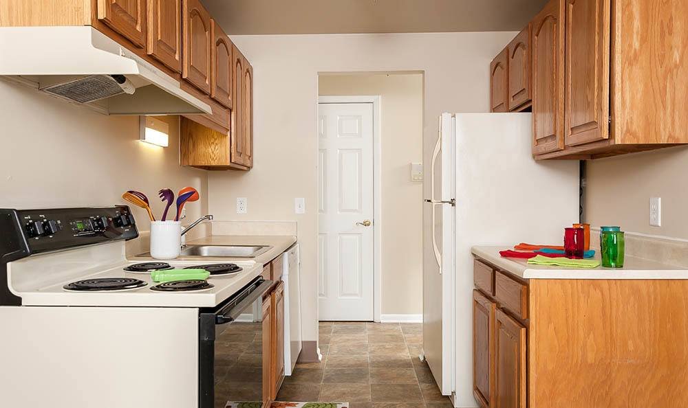 Fully equipped kitchen at Newcastle Apartments home in Rochester, NY