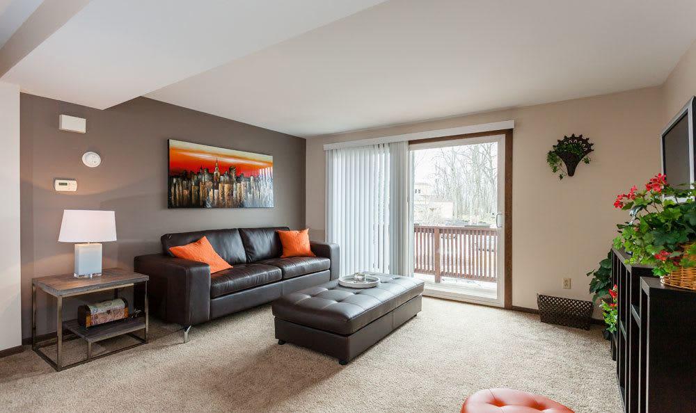 Spacious living room at Raintree Island Apartments in Tonawanda, NY