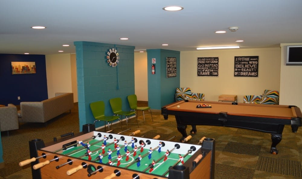 Clubhouse recreation room at Riverton Knolls in West Henrietta, NY