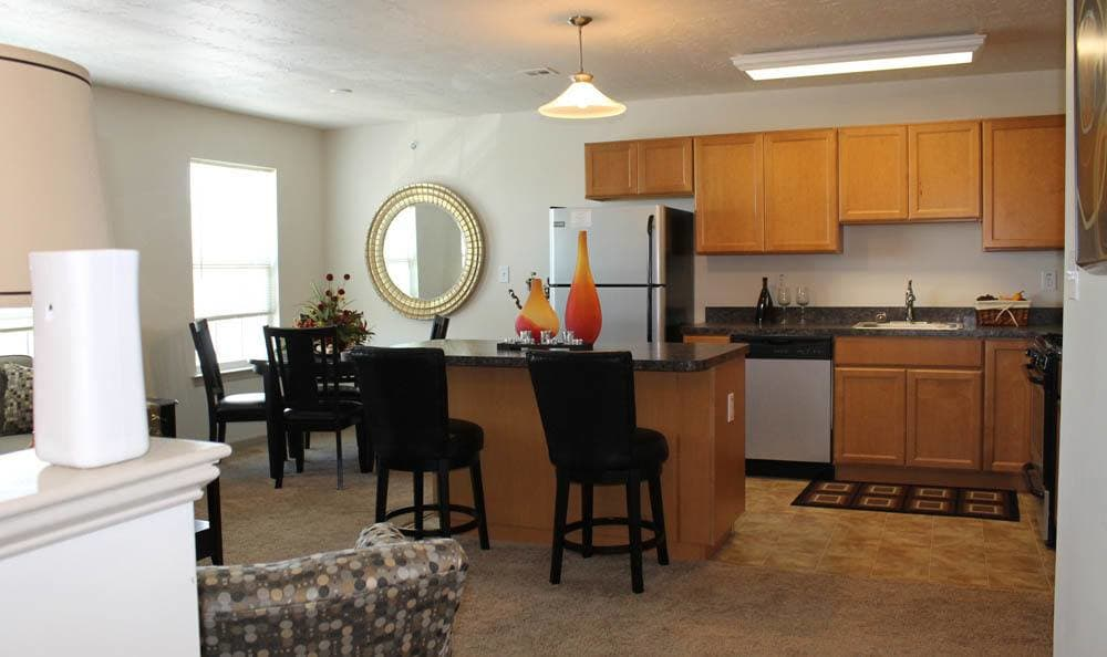 Dining room and kitchen at The View at Mackenzi