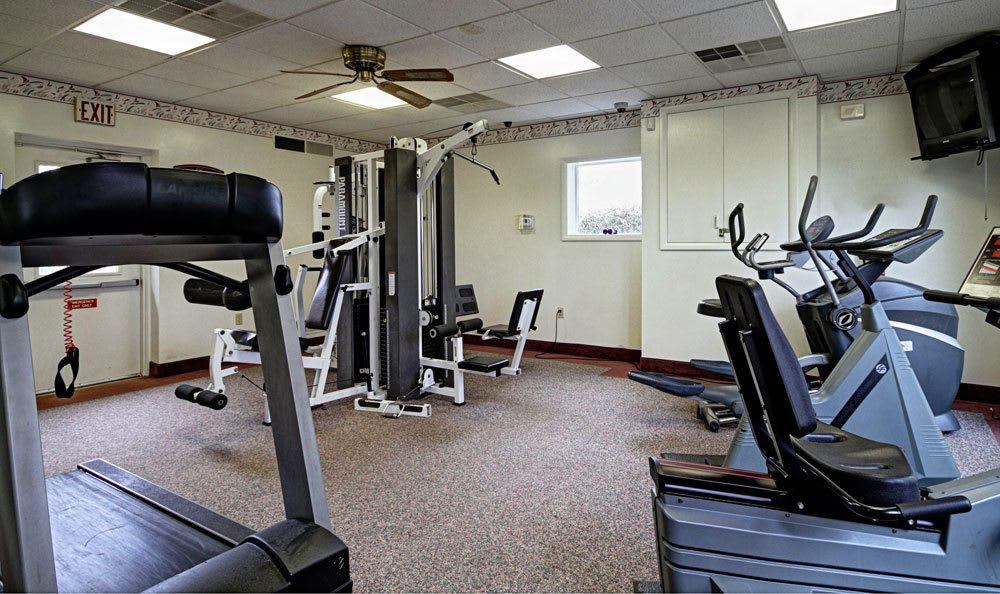 Spacious fitness center at King's Manor Apartments in Harrisburg, PA
