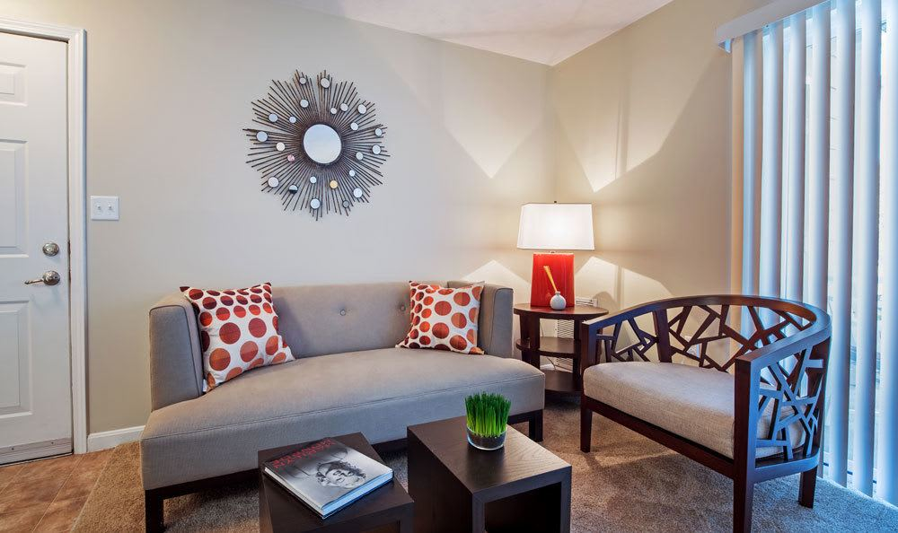 Inviting living room at Waterford Nevillewood Apartments