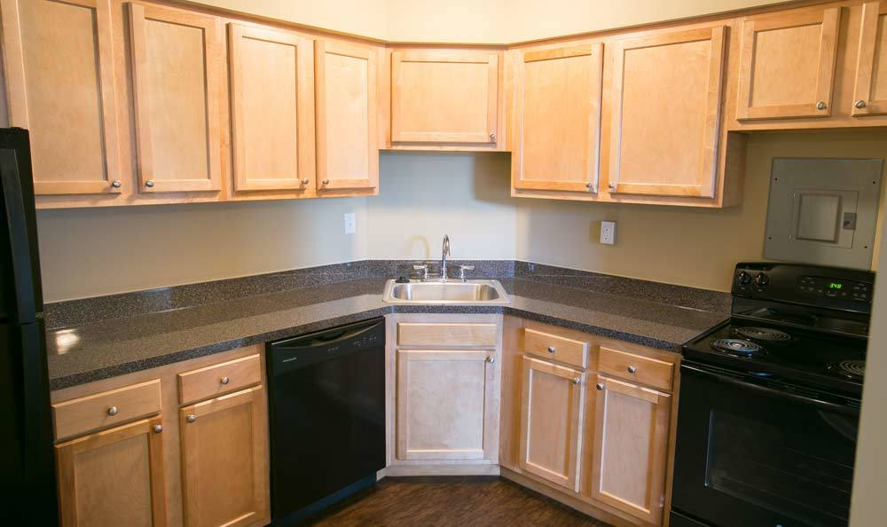 Example kitchen at The Drake Apartments in Mayfield Heights, OH
