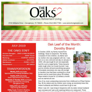 July The Oaks Gracious Retirement Living Newsletter