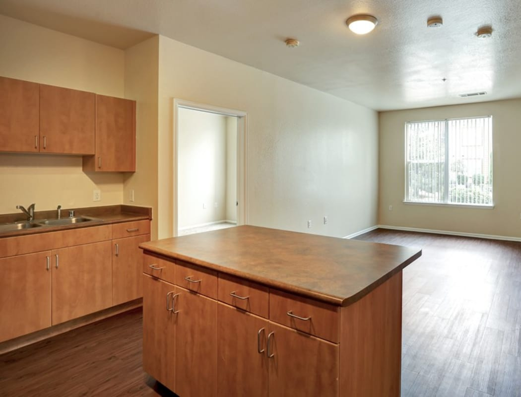Kitchen with an island at Diamond at Prospect Apartments