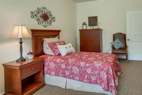 Memory Care apartment bedroom at Capetown Senior Living in Cape Girardeau, Missouri