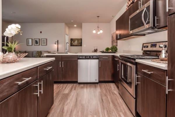 Full kitchens at Aventura at Towne Centre in Ellisville, Missouri.