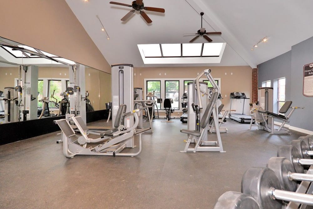 Fitness center at Fountains at Steeplechase Apartments in Plano, TX