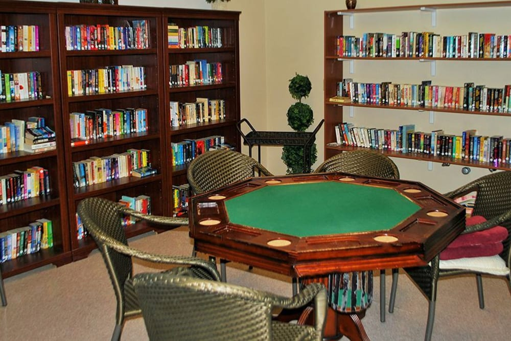 Library and game area at Roseville Commons Senior Living in Roseville, California