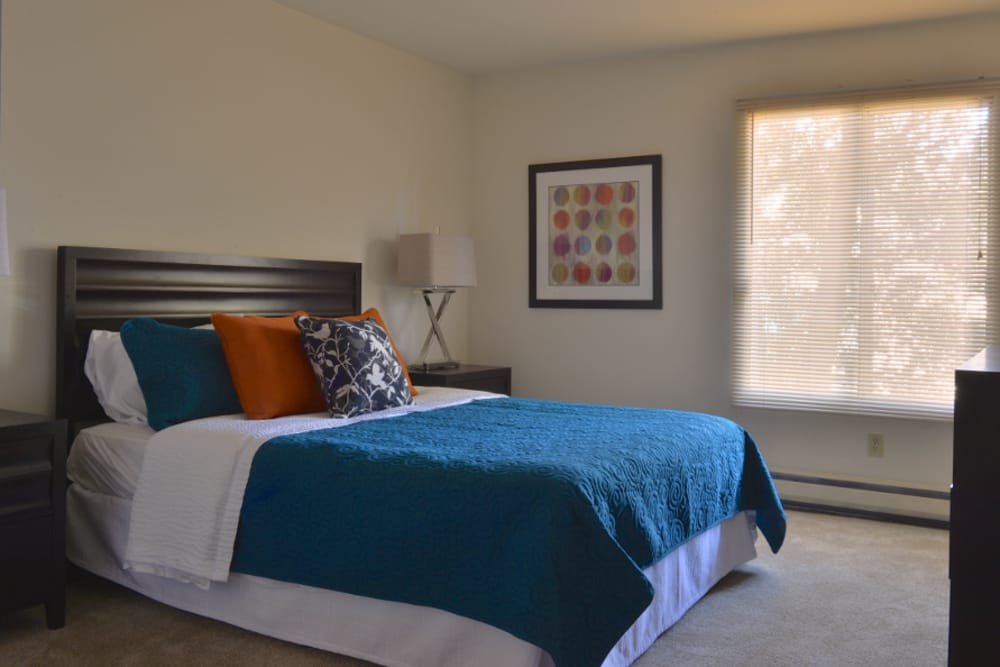 An example bedroom at Parquelynn Village Apartments in Nashotah, WI