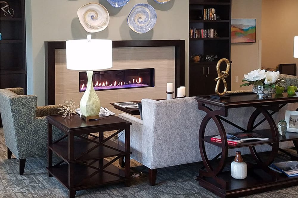 Modern fireside lounge at The Lofts at Glenwood Place in Vancouver, Washington