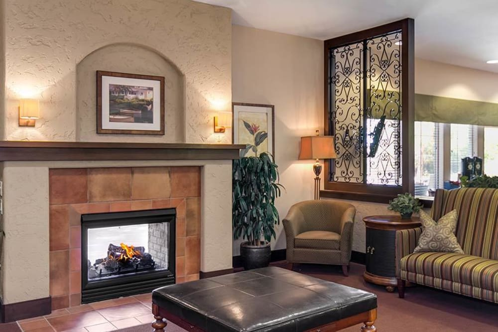 Lobby with a fireplace at Merrill Gardens at Green Valley Ranch in Henderson, Nevada.
