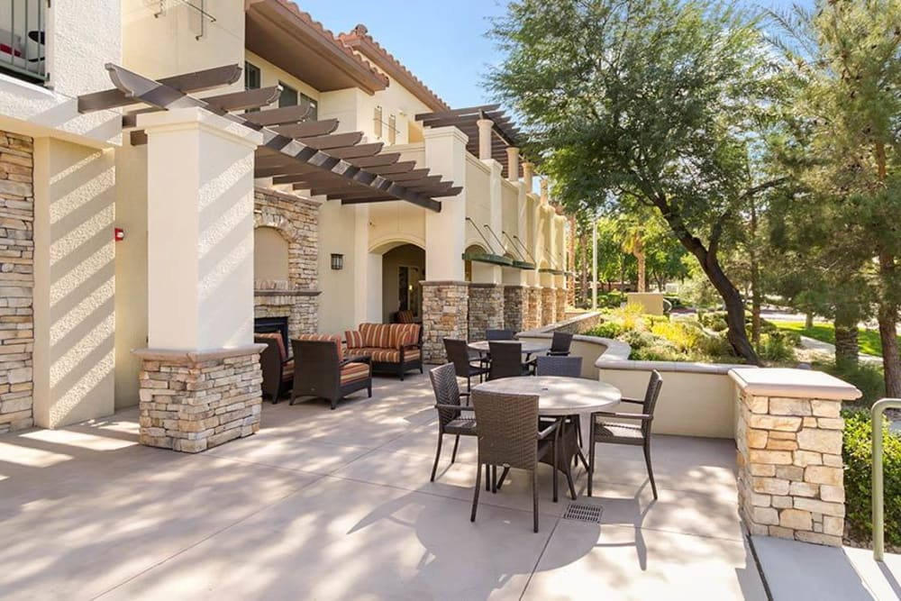 Back patio with seating at Merrill Gardens at Green Valley Ranch in Henderson, Nevada.