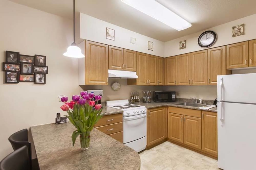 Resident kitchen at Merrill Gardens at Renton Centre in Renton, Washington.