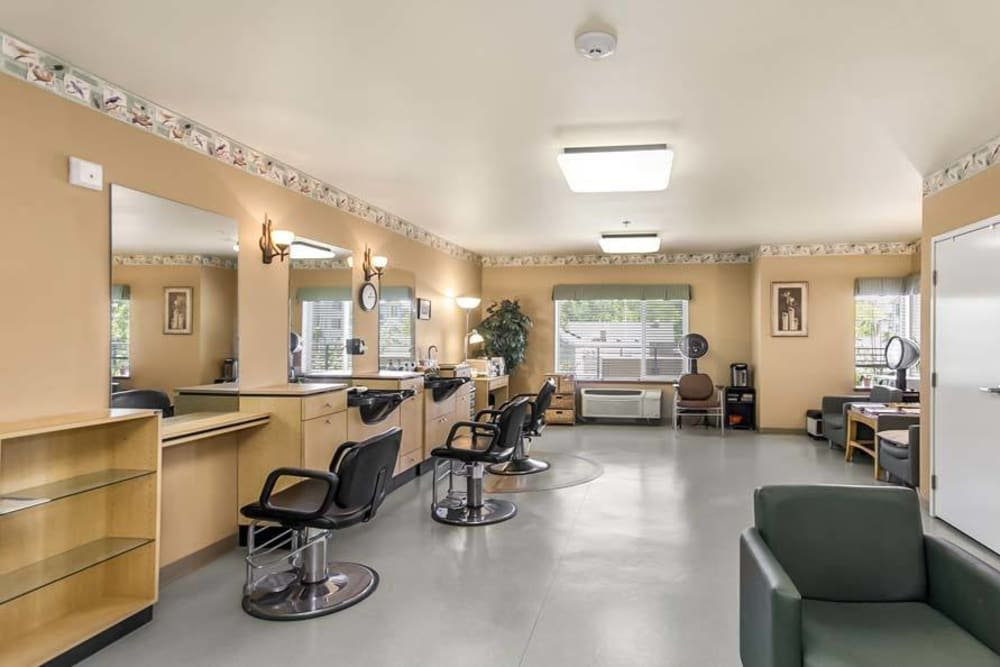 Onsite salon at Merrill Gardens at Renton Centre in Renton, Washington.