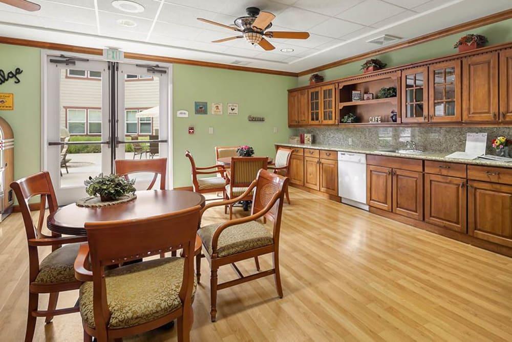 Community kitchen at Merrill Gardens at Gilroy in Gilroy, California.