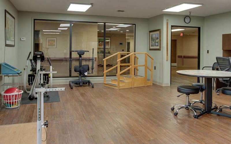 The exercise and rehabilitation room at Eureka Nursing in Eureka, Kansas