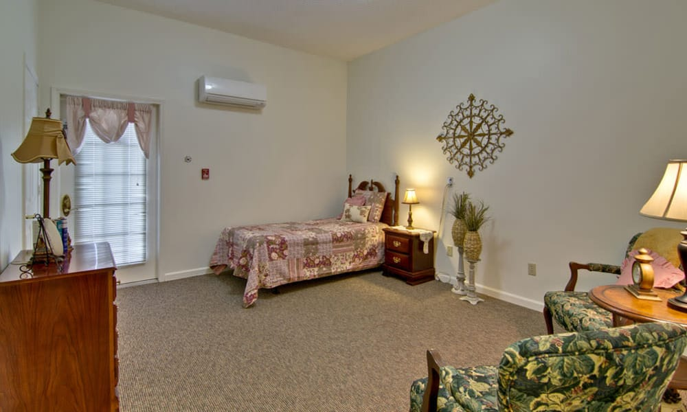 Large bedroom for assisted living residents at Greenbrier Meadows in Martin, Tennessee