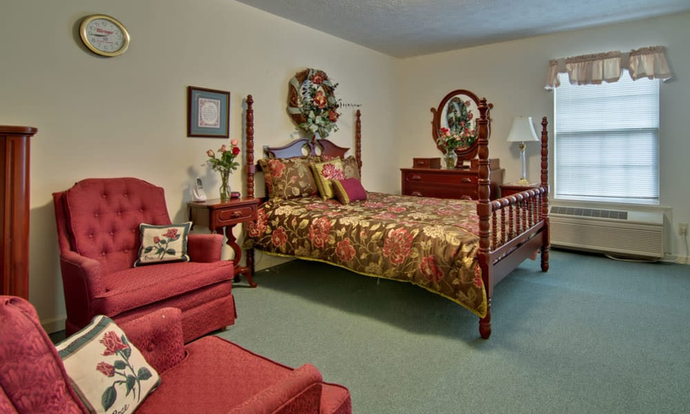 Large bedroom for assisted living residents at Harmony Hill in Huntingdon, Tennessee