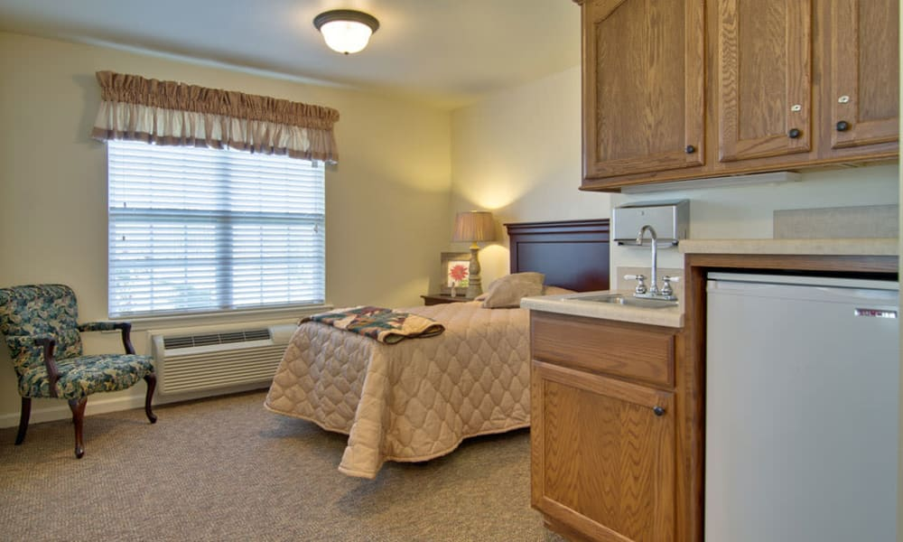 Cozy floor plan for assisted living residents at Hartmann Village Senior Living in Boonville, Missouri