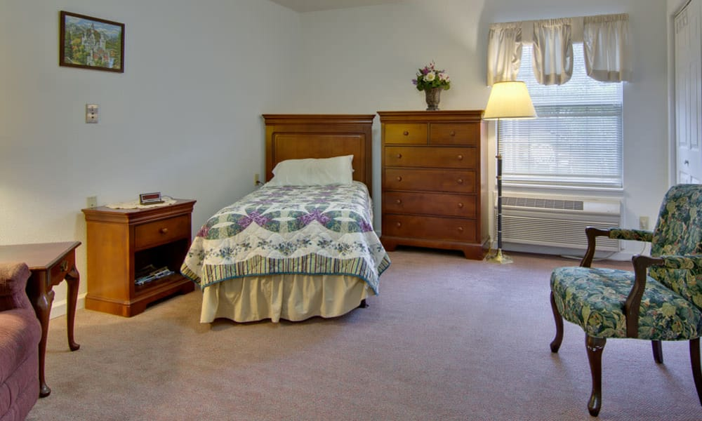Large bedroom for assisted living residents at Maple Tree Terrace in Carthage, Missouri
